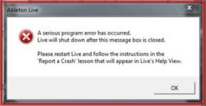 """""""A serious program error has ocurred"""" - Ableton Live 10"""