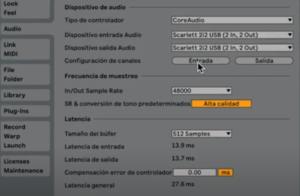 configurar ableton para un mejor rendimiento