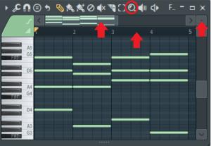hacer zoom en el piano roll fl studio